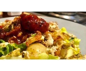 Pesto Chicken Pot Salad, Smk Tomato Chutney & Crispy Onions