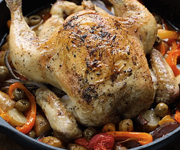 Italian Roast Chicken With Peppers & Olives